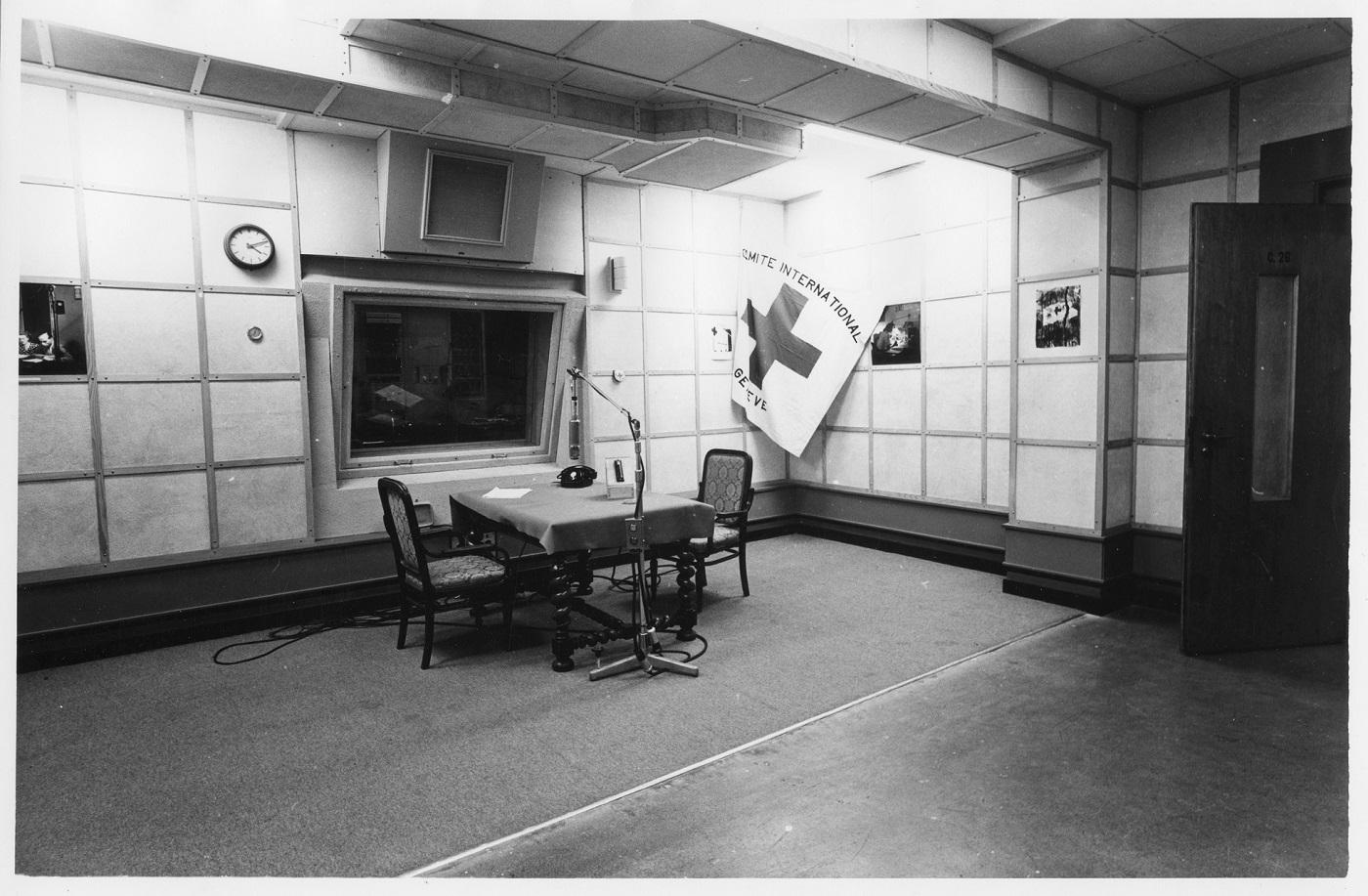 Radio-Genève, studio Max huber. Intérieur.