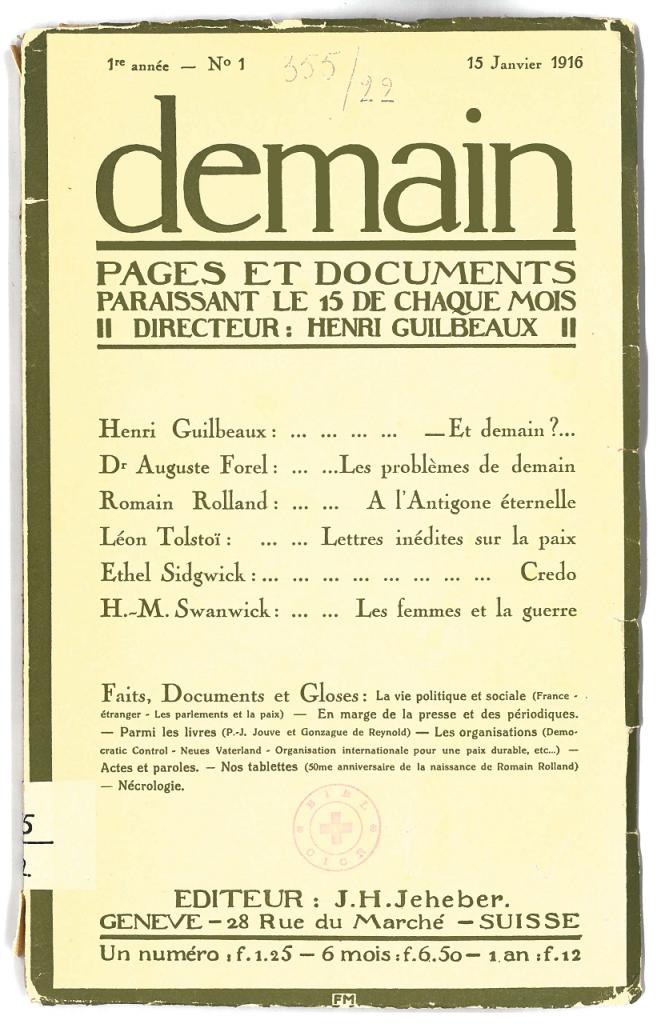Page de couverture du premier numéro de la revue demain, Bibliothèque CICR