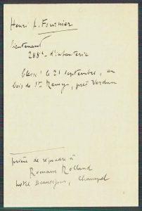 ACICR C G1 E 13-01.0816, fiche de demande de renseignement extraite du fichier principal des militaires et sanitaires des armées française et belge (fiche rédigée par Romain Rolland)