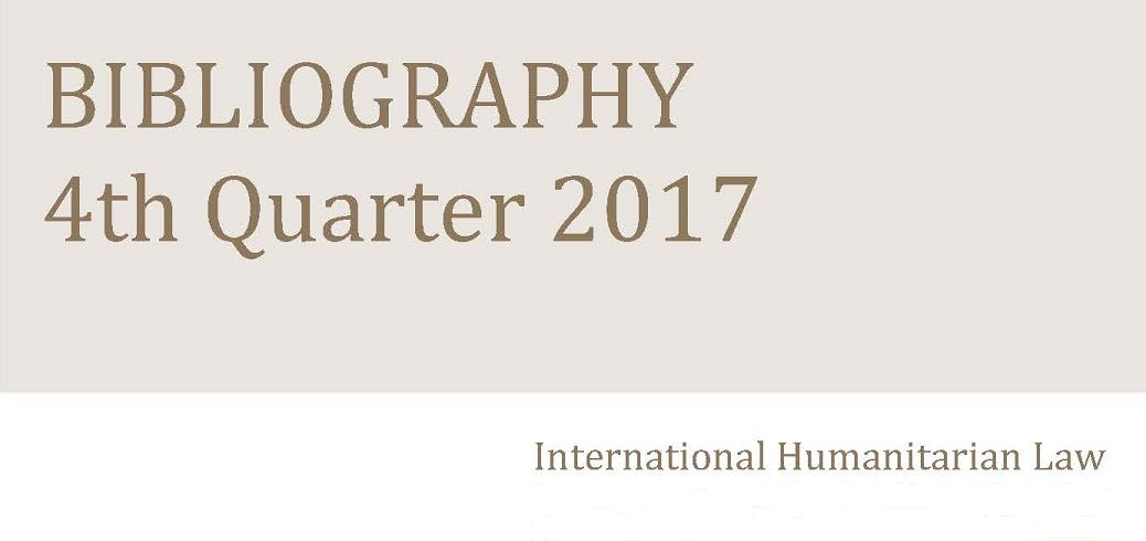 IHL bibliography – 4th Quarter 2017
