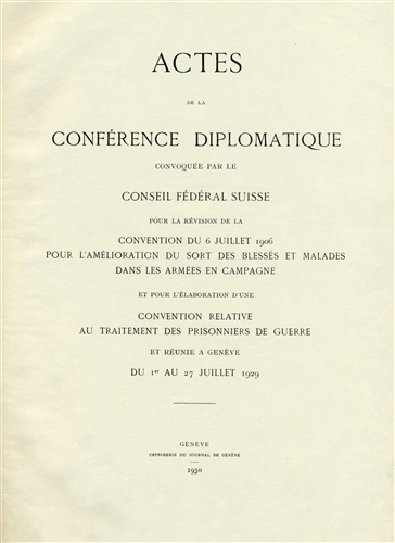 Records of the 1929 Diplomatic Conference.