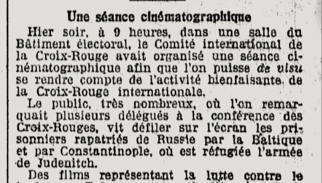 La filmographie du CICR a 100 ans. Que racontaient les films de 1921 ?