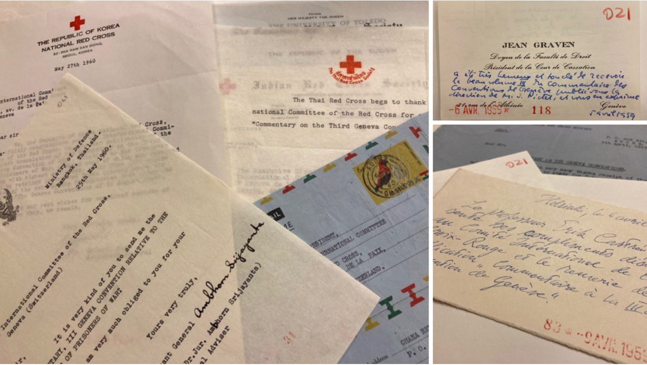 Thank you notes received after the distribution of the Commentary of the Third Geneva Convention (ICRC Archives)