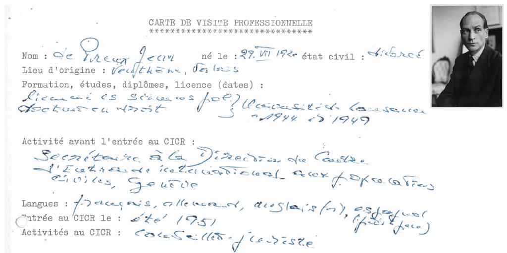 Jean de Preux's professional 'business card' and portrait (ICRC archives)