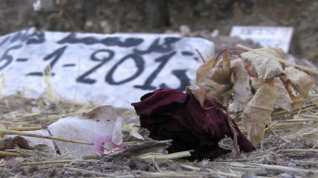 Tombe anonyme de migrant - Cimetière de Mytilène - Ile de Lesbos - Grèce.