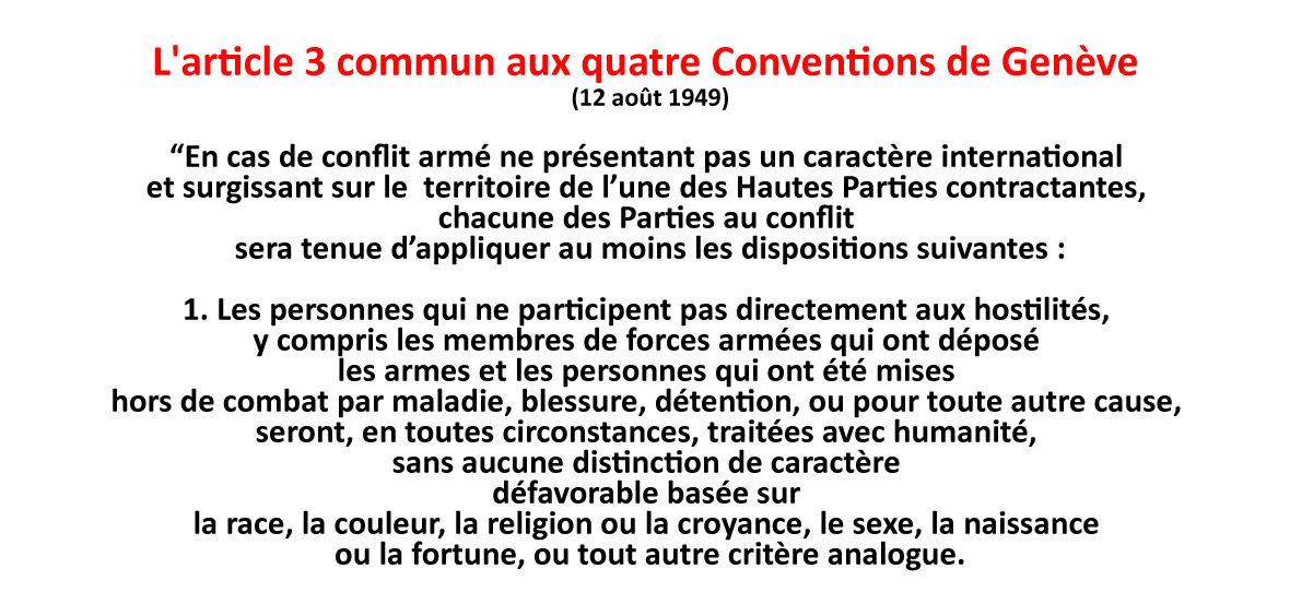 Une mini Convention de Genève pour un max d'Humanité