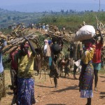 Kigali. June 1994 Civilians fleeing the violence