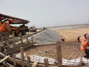 Constructions of Wadi Gaza waste water treatment plant.