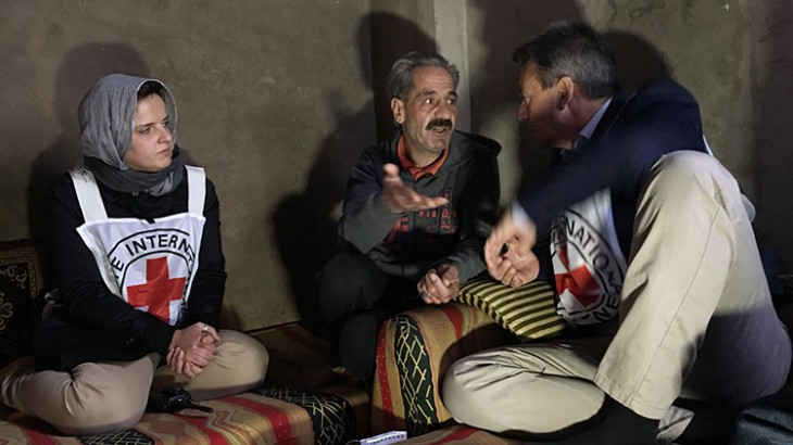 President of the ICRC, Peter Maurer, and head of operations in Homs, Majda Flihi, visit with Khaled, a resident at a shelter for internally displaced persons in the zone of Al Waer, Syria.