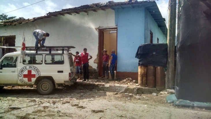 An ICRC vehicle used to distribute relief in Las Mercedes. CC BY-NC-ND / ICRC /Holman Arias