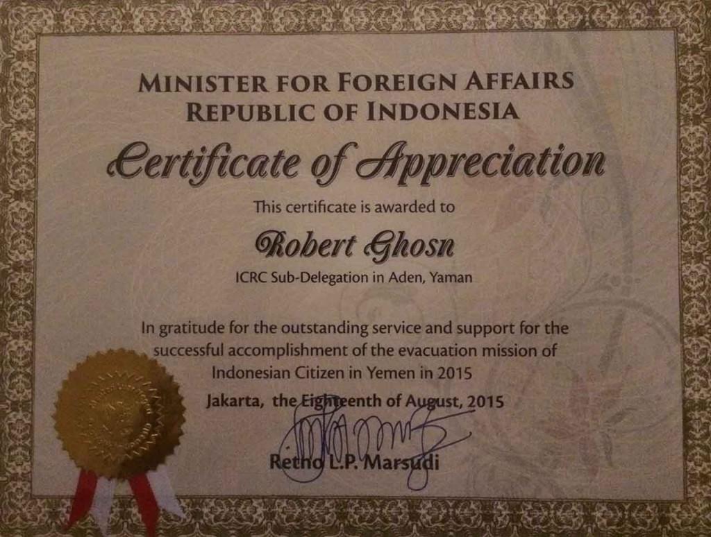 Sertifikat Penghargaan dari Kementerian Luar Negeri Indonesia.  Dok: Pribadi