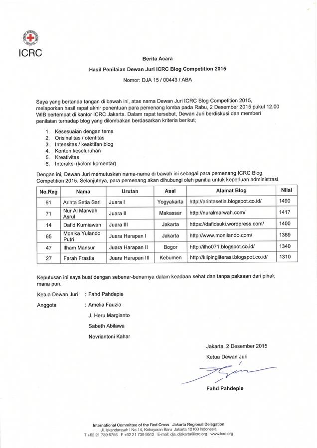 Surat keputusan Juri.