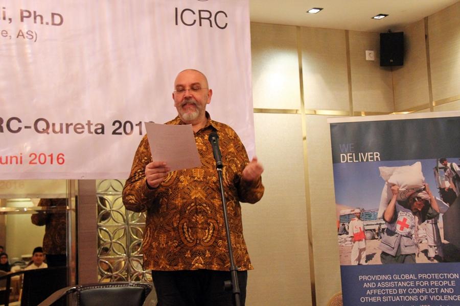 Luc Haas, Wakil Kepala Delegasi ICRC untuk Indonesia dan Timor Leste menyampaikan pidato pembukaan. © ICRC / Ursula N. Langouran