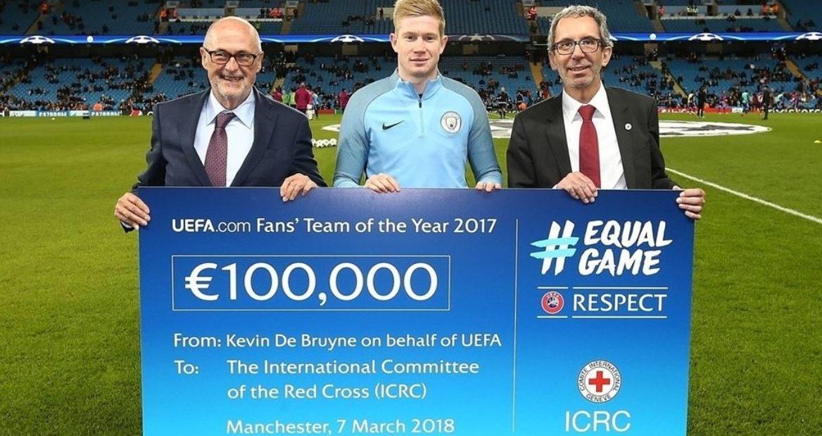 UEFA memberi donasi sebesar €100,000 untuk ICRC