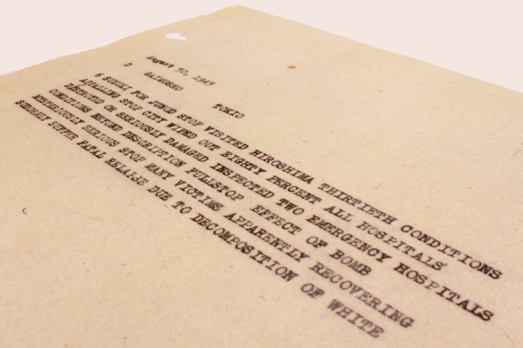 Fritz Bilfinger, ICRC, telegram dated 30 August 1945. (Archival source: ACICR, B G 008/76-X. Photo by Sarah Roxas/ICRC)