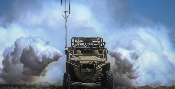 Autonomous Weapons Systems: When is the right time to regulate? A Screening Obscuration Module (SOM) attached to a Utility Task Vehicle is autonomously activated. US Marine Corps. The appearance of U.S. Department of Defense (DoD) visual information does not imply or constitute DoD endorsement.