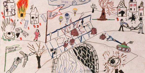 """Rebuilding peace in divided education systems - Peacebuilding - Bosansca Krupa. Dessin d'enfants de l'école élémentaire. Bosansca Krupa Elementary school. Drawing from young children. It will take children a long time to forget scenes like this"""", says head Kadic Izet. Credit ICRC"""