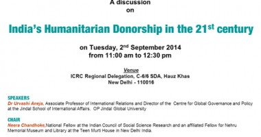 ICRC New Delhi to hold discussion on India's Humanitarian Donorship in 21st Century
