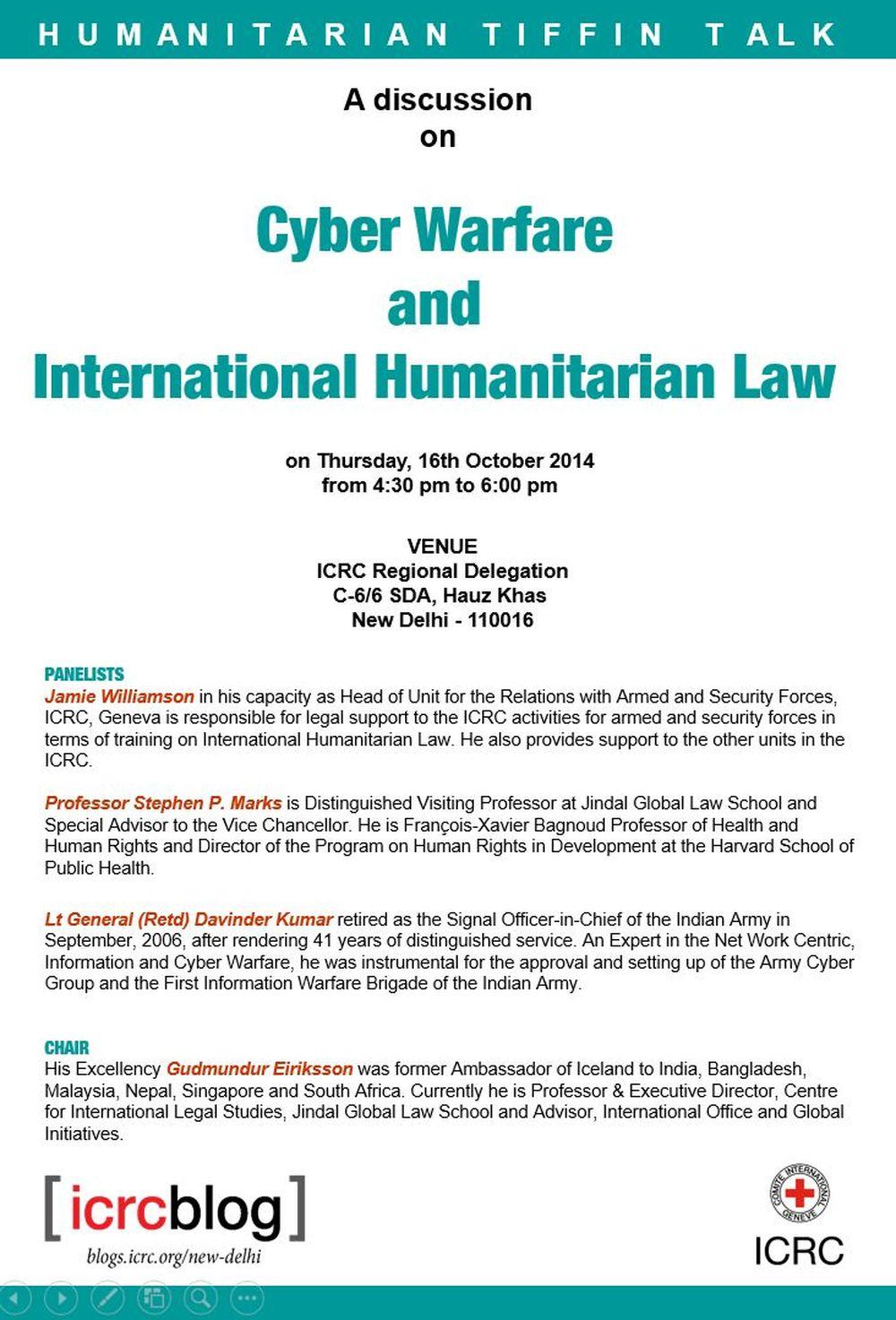 Humanitarian Tiffin Talk on 'Cyber Warfare and IHL' on 16
