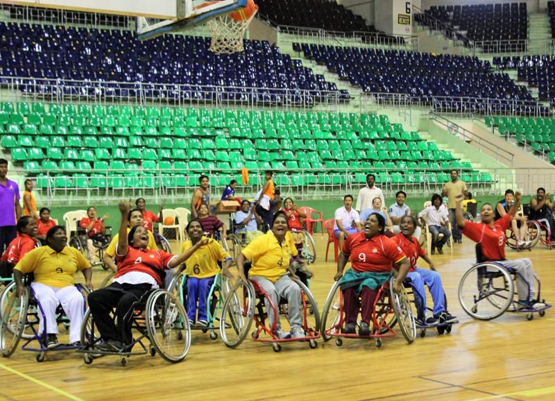 Women wheelchair basketball players at the tournament. ©ICRC / Ashirbad Raha