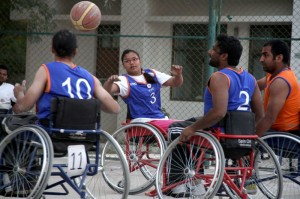 The wheelchair basketball match between Team Orange and Team Blue. ©ICRC/Ashish Bhatia