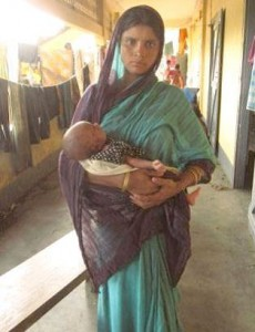 A woman in Kokrajhar district of Assam who gave birth to her baby in the relief camp. A number of deliveries were reported to have taken place in corridors, staircases or en-route to a health centre.