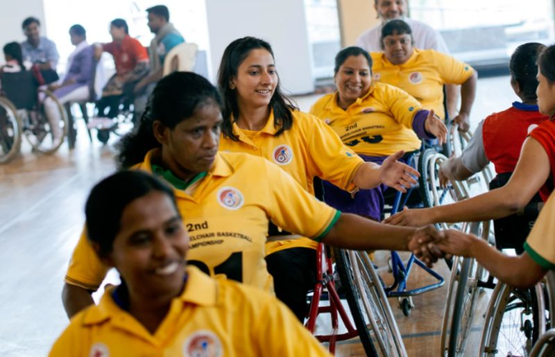 National wheelchair basketball player, Tasneem Fatima (third from front), started playing after her injury one and a half years ago. ©Srikkanth