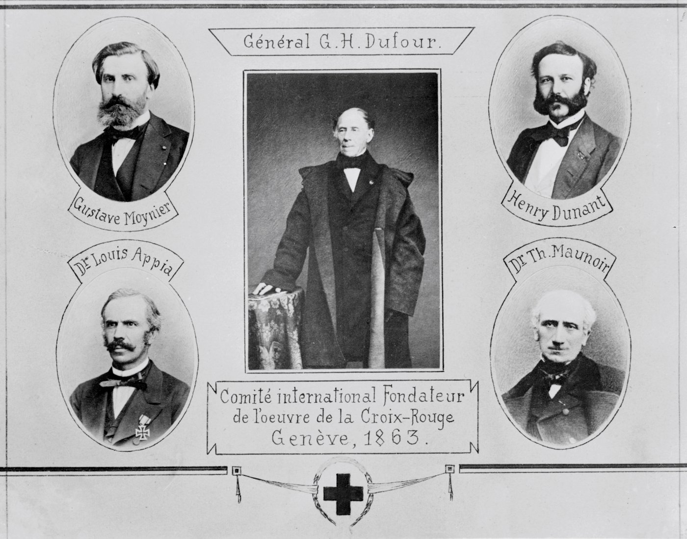 Committee of Five, which founded the Red Cross : Louis Appia, Guillaume-Henri Dufour, Henry Dunant, Théodore Maunoir, Gustave Moynier