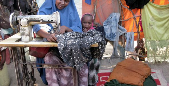 Food aid helps a mother fighting drought feed 5 children